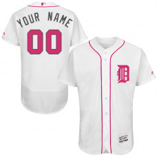 Custom Detroit Tigers Customzied Authentic White 2016 Mother's Day Fashion Flex Base Jersey