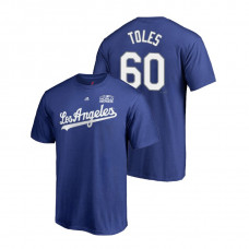Los Angeles Dodgers Royal #60 Andrew Toles Majestic T-Shirt 2018 World Series