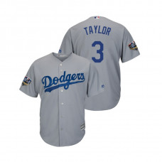 Los Angeles Dodgers Gray #3 Chris Taylor Cool Base Jersey 2018 World Series