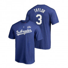 Los Angeles Dodgers Royal #3 Chris Taylor Majestic T-Shirt 2018 World Series