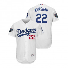Los Angeles Dodgers White #22 Clayton Kershaw Flex Base Jersey 2018 World Series