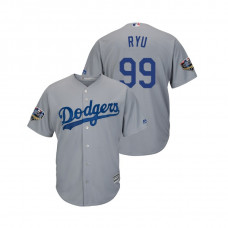 Los Angeles Dodgers Gray #99 Hyun-Jin Ryu Cool Base Jersey 2018 World Series
