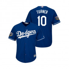 Los Angeles Dodgers Royal #10 Justin Turner Cool Base Jersey 2018 World Series
