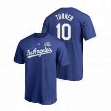 Los Angeles Dodgers Royal #10 Justin Turner Majestic T-Shirt 2018 World Series