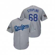 Los Angeles Dodgers Gray #68 Ross Stripling Cool Base Jersey 2018 World Series