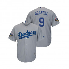 Los Angeles Dodgers Gray #9 Yasmani Grandal Cool Base Jersey 2018 World Series