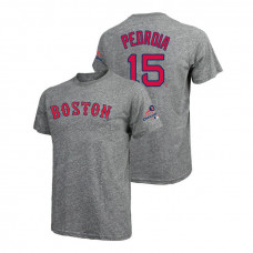 Boston Red Sox Gray #15 Dustin Pedroia Majestic Threads T-Shirt 2018 World Series Champions