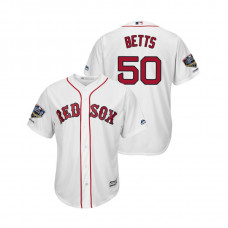 Boston Red Sox White #50 Mookie Betts Cool Base Jersey 2018 World Series Champions