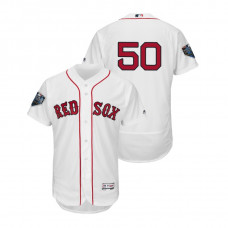 Boston Red Sox White #50 Mookie Betts Flex Base Jersey 2018 World Series