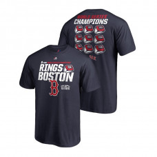 Boston Red Sox 9 World Series Rings Navy Majestic T-Shirt 2018 World Series Champions
