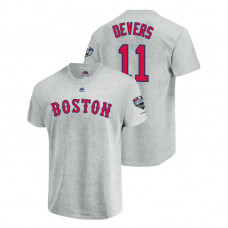 Boston Red Sox Gray #11 Rafael Devers Sleeve Patch T-Shirt 2018 World Series Champions