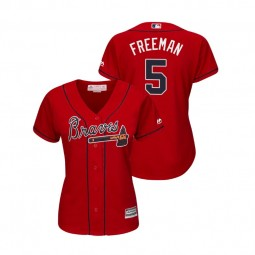 Women - Atlanta Braves Scarlet #5 2019 Cool Base Freddie Freeman Alternate Jersey