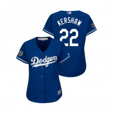 Women - Los Angeles Dodgers Royal #22 Clayton Kershaw Cool Base Jersey 2018 World Series