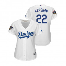 Women - Los Angeles Dodgers White #22 Clayton Kershaw Cool Base Jersey 2018 World Series