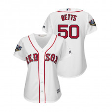 Women - Boston Red Sox White #50 Mookie Betts Cool Base Jersey 2018 World Series