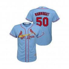 Kid's St. Louis Cardinals Horizon Blue #50 2019 Cool Base Adam Wainwright Alternate Jersey