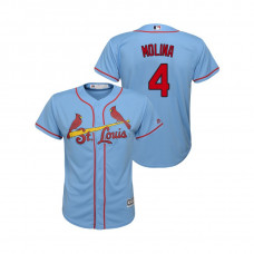 Kid's St. Louis Cardinals Horizon Blue #4 2019 Cool Base Yadier Molina Alternate Jersey