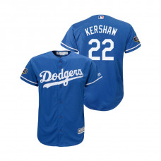 Youth Los Angeles Dodgers Royal #22 Clayton Kershaw Cool Base Jersey 2018 World Series