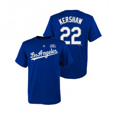 Youth Los Angeles Dodgers Royal #22 Clayton Kershaw Majestic T-Shirt 2018 World Series