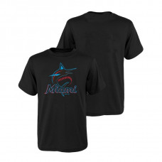 Kid's Miami Marlins Majestic Black 2019 Primary Logo T-Shirt