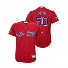 Youth Boston Red Sox Red #50 Mookie Betts Cool Base Jersey 2018 World Series