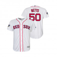 Youth Boston Red Sox White #50 Mookie Betts Cool Base Jersey 2018 World Series